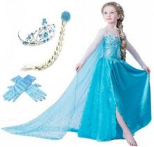 Frost frozen elsa princess klänning + tiara/fläta/handskar