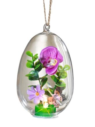Glassegg med orkidé og LED grønn