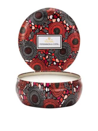 Voluspa Persimmon & Copal 3 Wick Decorative Tin Candle