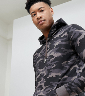 Brave Soul TALL Camo Hoodie - Grey