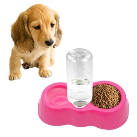Drikkeskål til hund med automatisk drikkedispenser - Rosa