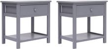 vidaXL Sängbord 2 st grå 40x29x42 cm kejsarträ