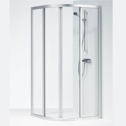 Ifö Solid dusjhjørne SVR 90X90x195 cm, Klart Glass / Alu profil