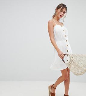Boohoo exclusive button down mini dress - White