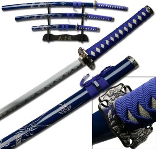 3stk Samuraisverd - Dark Repulser - med Stativ
