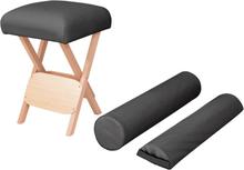 vidaXL Hopfällbar massagepall 12 cm tjock sits och 2 bolster svart