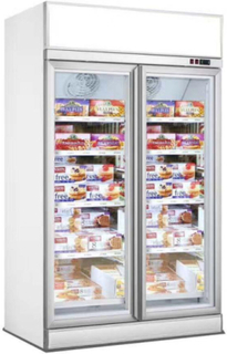 Køleskab - 2 glasdøre - Med topskilt - 1000 liter