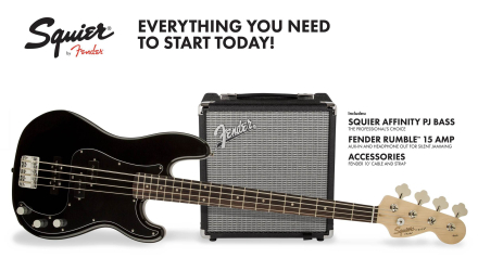 Squier By Fender - Affinity Series Precision PJ Bass - Electric Bass Starter Pack (Black)