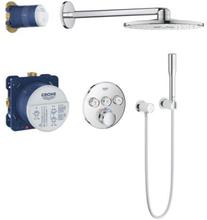Grohe Grohtherm SmartControl inbyggnings duschsystem m/termostat, 3 uttag & Rainshower SmartActive takdusch Ø31 cm - Krom