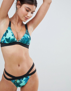 Missguided Floral Double Strap Bikini Bottoms-Multi
