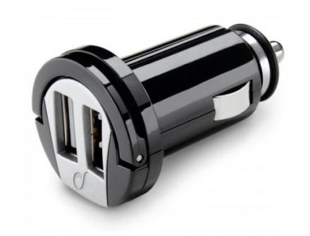 Cellularline laddare till bil (12/24V) med 2 USB-utgång