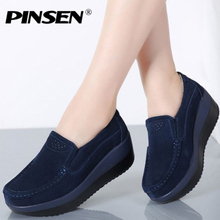 PINSEN 2020 Autumn Women Flat Platform Loafers Shoes Ladies Suede Leather Hollow Casual Shoes Slip on Flats Moccasins creepers