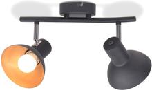 vidaXL Taklampa för 2 lampor E27 svart och guld