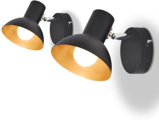 vidaXL Vägglampor 2 st E27 svart och guld