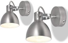 vidaXL Vägglampor 2 st E14 grå
