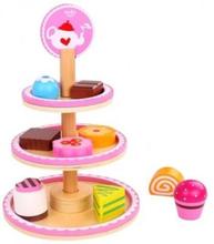 Tooky Toy - Tre Våningar Kakfat I Trä