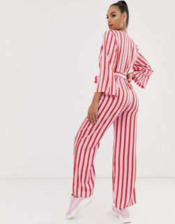 Na-kd stripe wide sleeve jumpsuit in red and pink-Multi