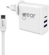 GEAR Laddare 220V 2xUSB-A 1xUSB-C PD 3.1 60W 4,8A 12-20V incl 2m USB-C 3.1 Cable