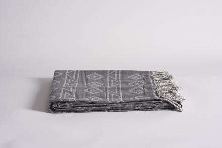 "Bomuldsplaid ""Loures"" jacquardvævet i grå mønstre"