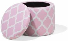 Beliani Fotpall med förvaring rosa/vit TUNICA