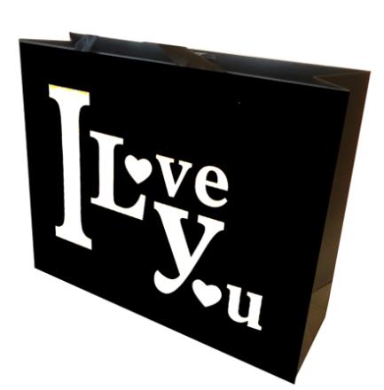 I Love You Gavepose sort/hvid
