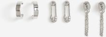 RHODIUM PAPER CLIP 3PK EARRINGS