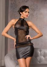HALTER NECK MESH DRESS S/M BLACK