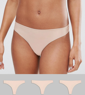 ASOS DESIGN 3 pack basic seam free thongs - Beige