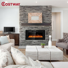 """36"""" Recessed Ultra Thin Wall Mounted Electric Fireplace 2 Heat Settings Realistic Flame Effects Touch Screen LED Fireplace"""