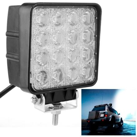 48W Bridgelux 4000lm 16 LED 30 grader lys spredning, Hvit lys/ Vanntett IP67 SUVs Lys DC 10-30V(sort)