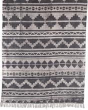 Stentvättad bomullsmatta Cadiz - Svart - 160x230 cm