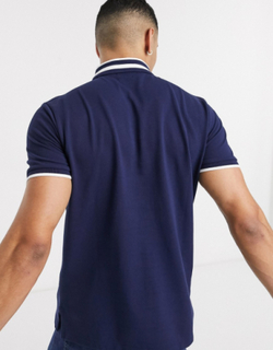 Polo Ralph Lauren regular fit pique polo in navy with logo placket tipped collar