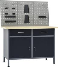 vidaXL Arbetsbänk med 3 väggpaneler