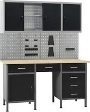 vidaXL Arbetsbänk med fyra väggpaneler och två skåp