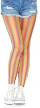 Rainbow striped fishnet tights