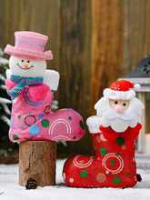 1Pc Funny Christmas Candy Boot Ornamente Cartoon Bright Cloth Schuhe Weihnachtsdekoration