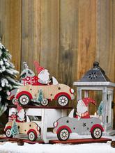 1Pc Weihnachtsdekorationen Weihnachtsmann fahren mit einem kleinen Baum Ornamente Holz stehende Desktop-Dekoration