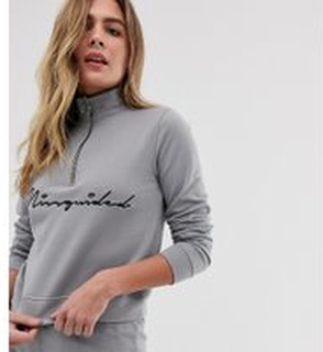 Missguided loungewear set with high neck zip front top / short in grey - Grey