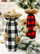 1 Stk. Weihnachtspompons Plaid Weinflaschentasche Rotwein Champagner Weihnachtstischdekoration