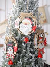 1 PC hölzernen Weihnachtskranz Anhänger kreative Schleife mit Glocken hölzernen Ring Ornamente Marke Anhänger