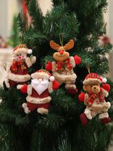 1Pc Weihnachtsbaum Zubehör Weihnachten kleine Puppen Schneemann Hirschbär Stoff Puppen kleine hängende Anhänger Geschenk