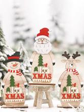 1Pc Weihnachtsdekoration Festliche Lieferungen Holzverzierungen Kreative ältere Schneemann Holz stehende Desktop-Verzier
