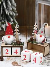 1Pc Weihnachten Holz Tannenzapfen Kalender Countdown Old Man Dekoration Stehende Desktop-Verzierung