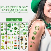 1Pc Irish Festival Wasserdichte Einweg-Tattoos-Aufkleber Vierblättriges Kleeblattmuster Wassertransfer-Tattoo-Aufkleber