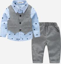 Baby Stars Print Pathchwork Freizeitjacke Langarmhemd + Hose für 6-24M