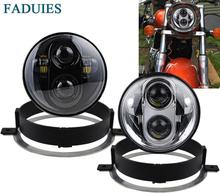 FADUIES Black 5.75 Inch Motorcycle Projector LED Headlight With bracket For Honda VTX 2002-2008 VTX 1800, VTX 1300