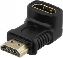 DELTACO HDMI-adapter, 19-pin ha till ho, vinklad, guldpläterad