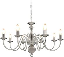 vidaXL Takkrona silver 8 x E14-glödlampor