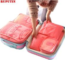 RUPUTIN 6PCS/Set Travel Mesh Bag Luggage Organizer Packing Cube Organizer For Clothing Socks Underwear Women Travel Accessories