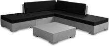 vidaXL Loungegrupp för trädgården med dynor 6 delar betong grå